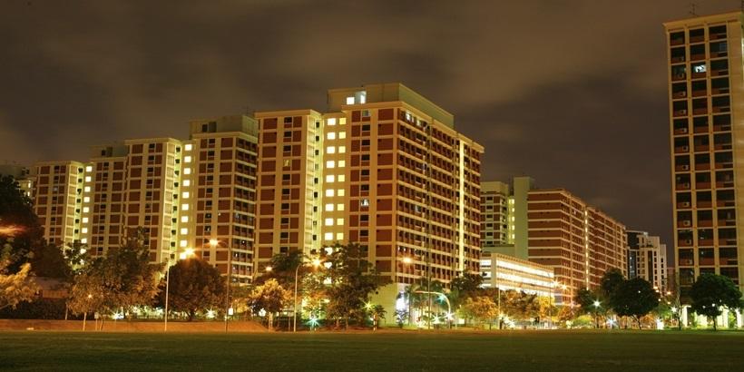 HDB flats at night