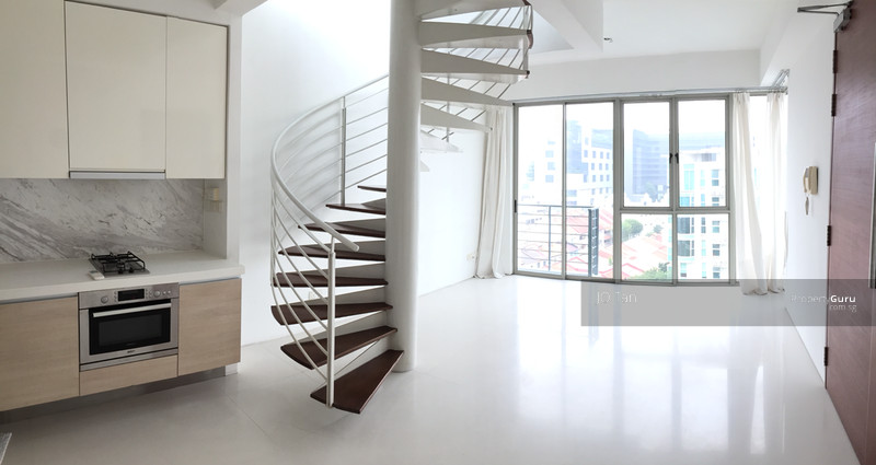 living hall with spiral stairways