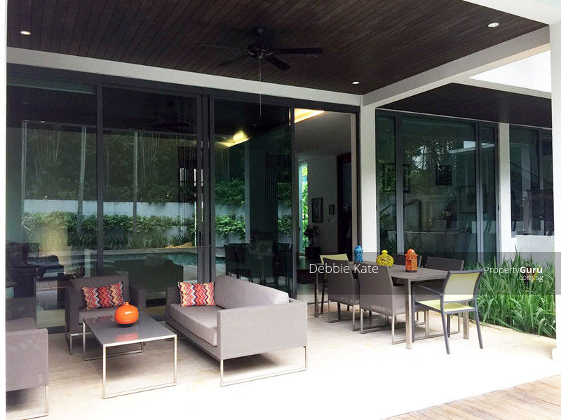 Lovely Patio overlooking pool and greenery