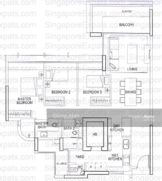 Double Bay Residences, 21 Simei Street 4, 3 Bedrooms, 1270 Sqft ...