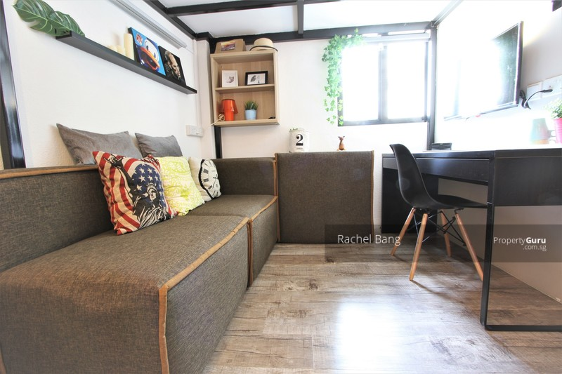 Loft style studio with queen size bed above and living area below