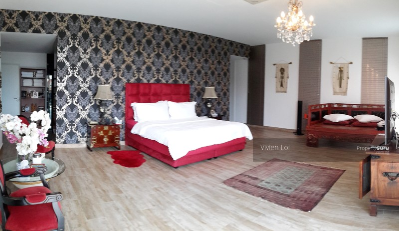 Huge master bedroom with marble tiled toilet and big balcony