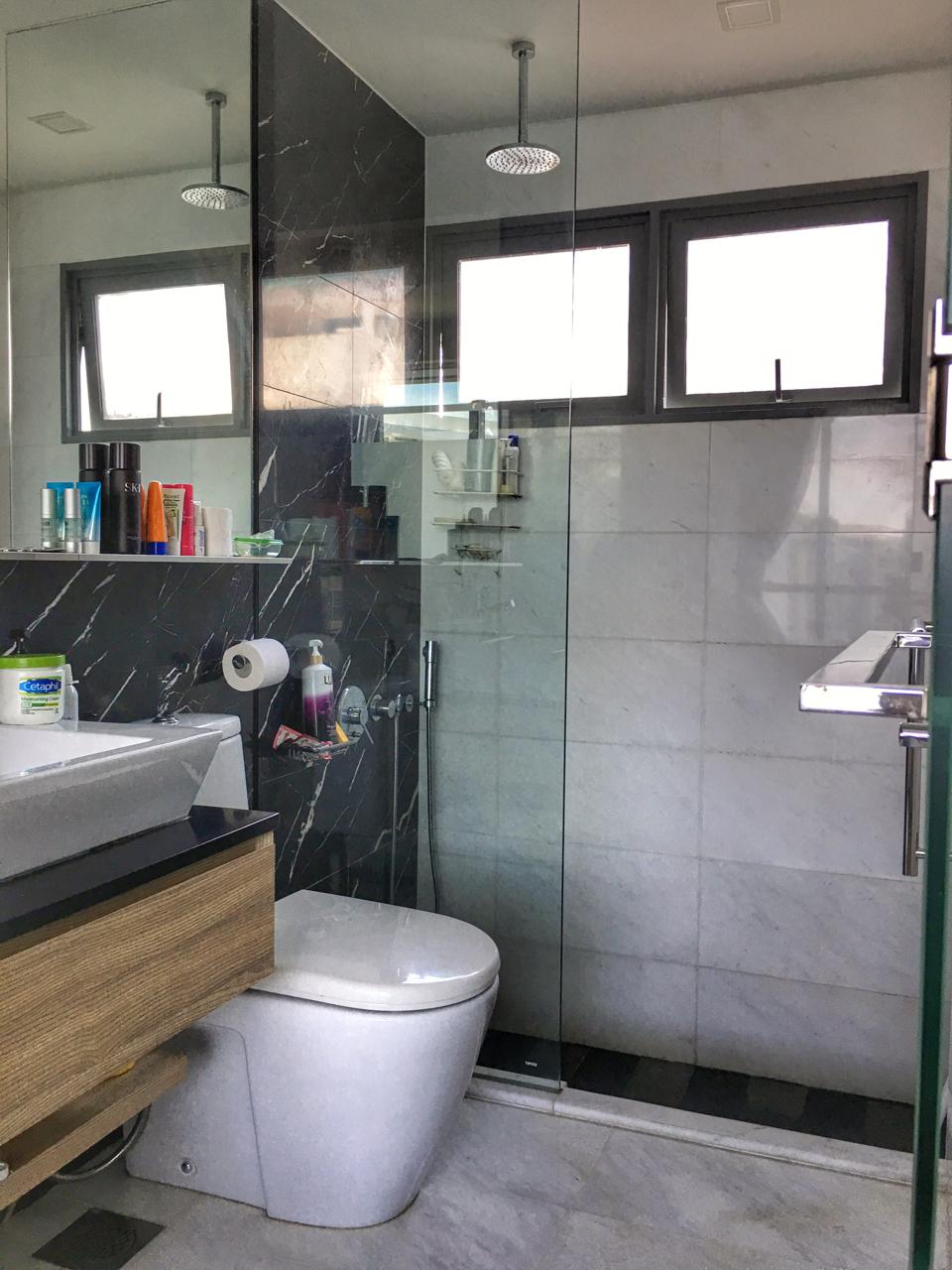 Master toilet with rain shower and sunken bath