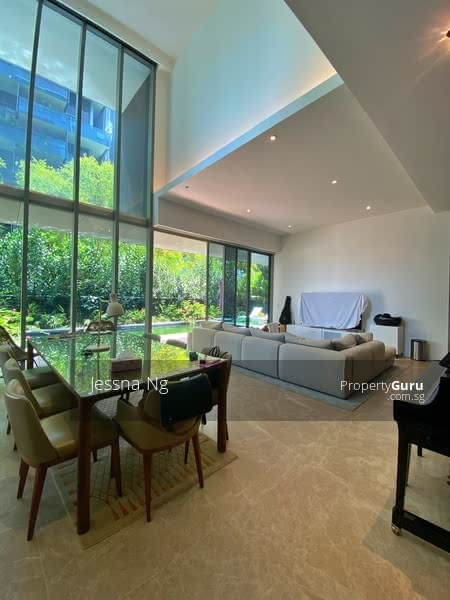 High ceiling dining area