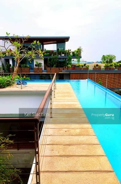 walkway to outdoor patio to roof top pool