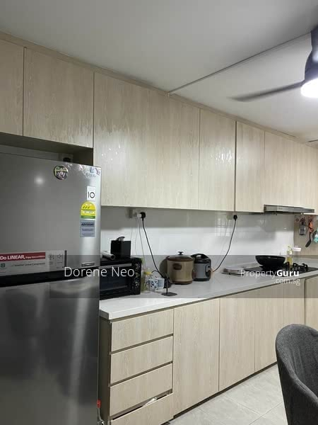 whole kitchen with nice kitchen cabinet